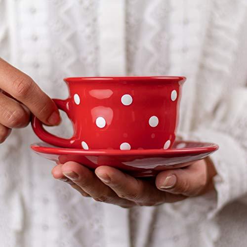 Red Polka Dot Coffee Tea Cup