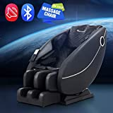 BestMassage Zero Gravity Full Body Electric Shiatsu Massage Chair Recliner with Built-in Heat Foot Roller Air Massage System LSS-Track Stretch Vibrating Audio for Home Office, Black