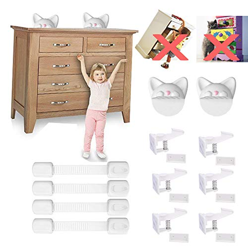 Anti Tip Kit for Baby-Proofing and Child Safety Cabinet Locks | No Tools | Super Strong 3M Adhesive Drawer Latches| Furniture Wall Anchors | Adjustable Strap Lock for Toilet Seat,Cupboard,Refrigerator