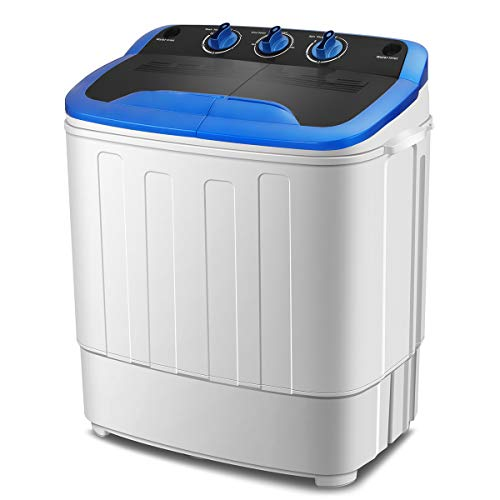 KUPPET Washing Machine, Portable Mini Compact Twin Tub Washer Spin Dryer, Ideal for Dorms, Apartments, RVs, Camping etc, White & Blue, 13Ibs