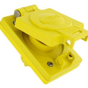 Leviton 64W49 IP66 Rated Cover, Corrosion Resistant, Locking, 15A, 250V, 2P, 3W, Grounding, Wetguard Single Inlet, Yellow