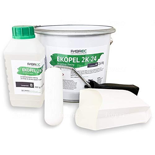 Ekopel 2K Bathtub Refinishing Kit - New Tool Kit Coming 12/23 - Odorless DIY Sink/Tub Reglazing Kit - 20X Thicker Than Other Tub Kits- No Peel Pour On Tub Coating - Bright Gloss Tub Coating (White)