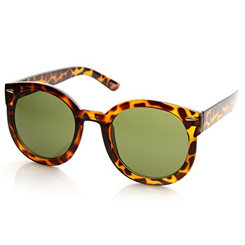 zeroUV – Round Retro Oversized Sunglasses for Women with Colored Mirror and Neutral Lens 53mm