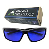 grinderPUNCH Tinted Golf Ball Finder Glasses | Sporty Blue Lens, Wrap Around Sunglasses | 100% UV Protection (Black)