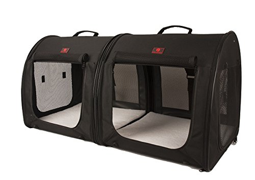One for Pets Fabric Portable 2-in-1 Double Pet Kennel/Shelter, Black 20'x20'x39' - Car Seat-Belt Fixture Included