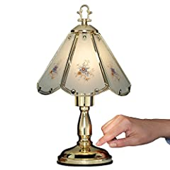 Floral Glass Table Touch Lamp
