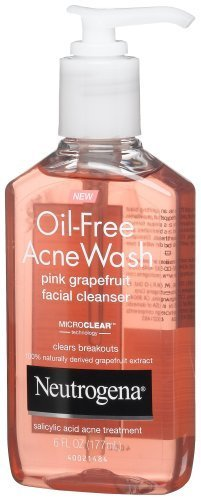 Neutrogena Oil-Free Acne Wash Facial Cleanser, Pink Grapefruit, 6 Ounce (Pack of 2)
