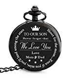 To My Son | Father, Mother and Son Graduation 2019 Gift - Engraved 'To Our Son Love Mom & Dad' Pocket Watch - Perfect Gifts for Son from Mom and Dad for Christmas, Valentines Day, Birthday