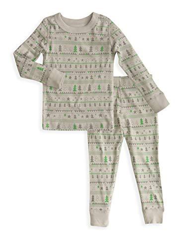 Kids Long Sleeves Holiday Pajamas Set- 100% Soft Organic Turkish Cotton- Unisex Boys/Girls Winter- Sizes 6