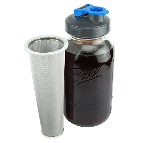 Cold Brew Coffee Maker with Flip Cap Lid by County Line Kitchen - 2 Quart - Make Amazing Cold Brew Coffee and Tea with This Durable Mason Jar and Stainless Steel Filter and Flip Cap Lid