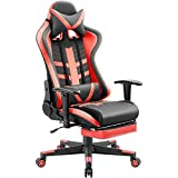 Homall Ergonomic High-Back Racing Pu Leather Bucket Seat Computer Swivel Office Headrest and Lumbar Support with Footrest, Red