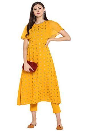 Janasya Women's Yellow Kurta With Pant