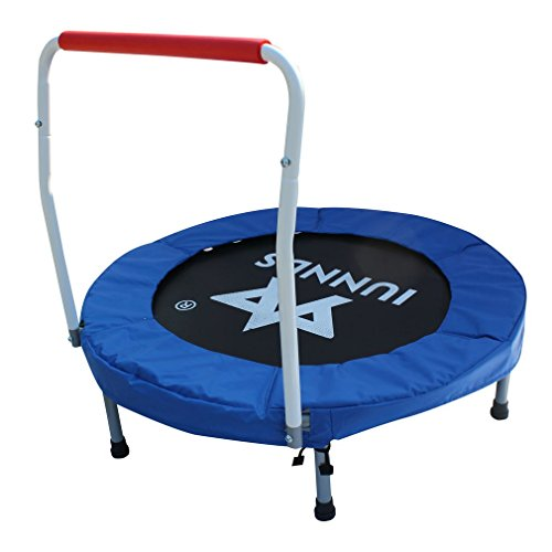 """KLB Sport 36"""" Mini Foldable Trampoline with Handrail for Kids Ages 3 to 8 (Blue & White)"""