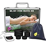 Professional Portable Massage Stone Heater Kit with 16 Therapy Hot Rocks Massage Stones - Bonus Guide E-Book included - by Amethyst Lake