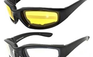 Black Motorcycle Padded Foam Glasses for Outdoor Activity Sport 2, 3, 4 Pairs OWL (4_pairs_Black_Frame, PC Lens)