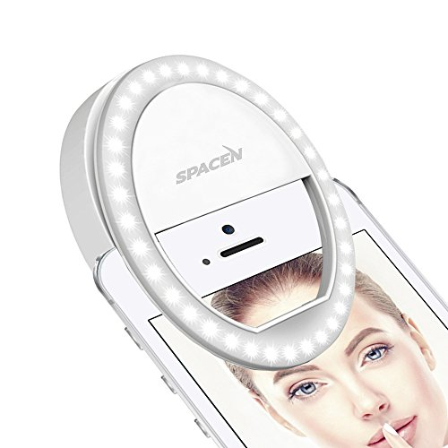 Spacen Selfie Light, 3-Level of Brightness [Rechargable Battery] Selfie LED Camera Lamp[36 LED] for iPhone iPad Sumsung Galaxy Photography Phones