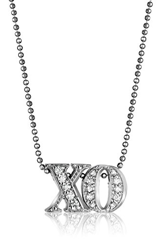 "Handmade necklace featuring ""XO"" pendant suspended from faceted ball chain Lobster-claw clasp Special Edition 14kt White Gold and diamond custom lower case double Letter XO^14kt White Gold diamond cut ball chain with lobster-claw clasp^ These custom pendants are solid 14kt White Gold encrusted with imported conflict-free pave diamonds, has our signature shiny beveled edge, and personally signed by Alex Woo.^Items are handmade and use natural stones that may vary in size, shape, and color.^Made in United States"
