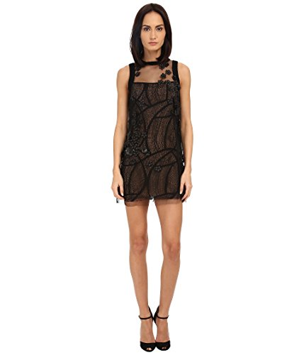 71YS0Q5GDeL Make your monumental entrance wearing the Vera Wang™ Shift Dress w/ Sleeveless Tulle.   Beautiful shear overlay with flower accents.