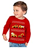 Tractors Bulldozers Ugly Christmas Sweater Style Boys Kid Long Sleeve T-Shirt 4T Red