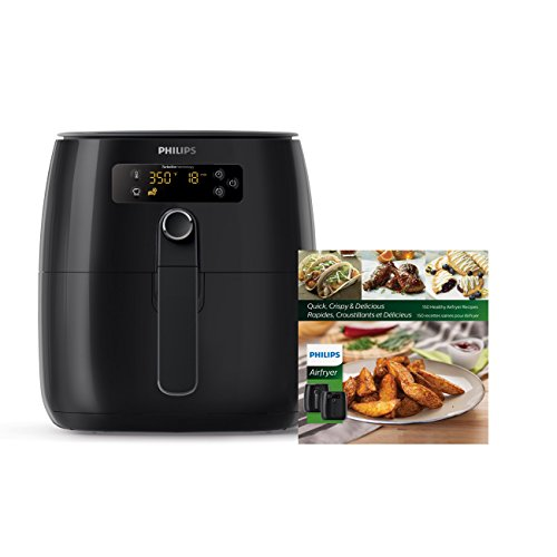 Philips TurboStar Technology Airfryer with Cookbook, Digital Interface, 1.8lb/2.75qt- HD9641/99