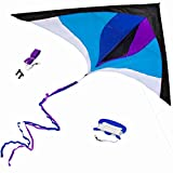 Best Delta Kite, Easy Fly for Kids and Beginners, Single Line w/Tail Ribbons, Stunning Blue & Purple, Materials, Large, Meticulous Design and Testing + Guarantee + Bonuses!
