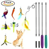 Keklle Cat Feather Toy Cat Toy Wand Interactive Teaser Catnip Toys Set Mouse Bird Butterfly Dragonfly Worm Catcher for Cats Kitten, 9 Refills