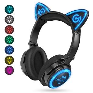 MindKoo-Wireless-Headphones-Bluetooth-LED-Light-Up-7-Color-Blinking-Cat-Ear-Over-EarOn-Ear-Safe-Foldable-Headset-Stero-with-Microphone-for-iPhoneiPadSmartphonesLaptopPCTV-Kids-Adults