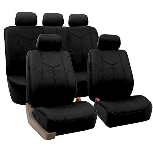 FH Group FPU009115 Rome PU Leather Full Set Car Seat Covers, Airbag compatible and Split Bench, Solid Black - Fit Most Car, Truck, Suv, or Van