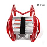 Hynawin Portable Fire Ladder Two-Story Emergency Escape Ladder 15 Foot with Wide Steps V Center Support
