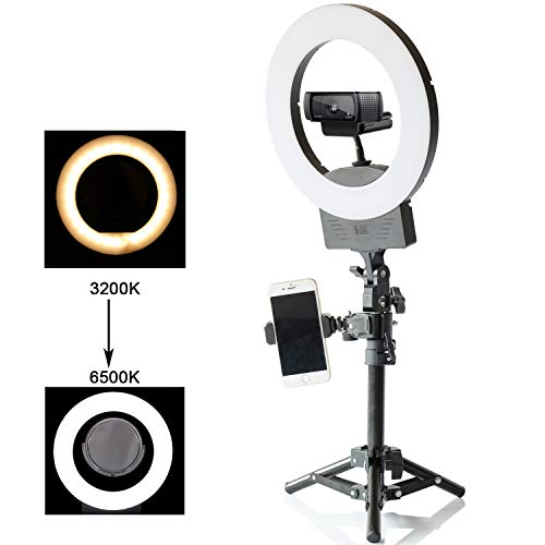 Table Top Photo LED Selfie Ring Light with Desktop Stand for Makeup 8-inch Dimmable 24W 5500K O Circular Beauty Lamp+3″ Mirror+Mini Tripod+Phone Clamp,for YouTube Vine Self-Portrait Video Filming