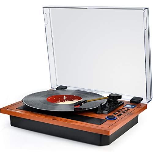 Turntable Vinyl Record Player Support Wireless in Out Record Player Built in Stereo Speakers Turntable Vinyl Records 3 Speed Turntable Player Support Vinyl-to-MP3 Recording USB SD LP Player