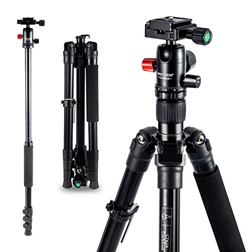 Camera Tripod – 62 inch Travel Aluminum Tripod Monopod with 360 Degree Panning Ballhead and Phone Holder, Stable Lightweight Photo Studio Tripod for Macro Photography & Canon Sony Nikon iPhone Samsung