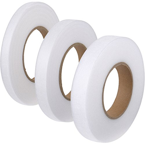 Shappy 3 Pieces 70 Yards Fabric Fusing Tape Hem Tape Adhesive Iron-on Hemming Tape Roll 10 mm, 15 mm, 20 mm Wide for Clothes