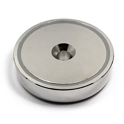 Cup Neodymium Magnet 405 lb Pulling Force Super Powerful, 0.7' Thick x 2.95' Diameter - Magnetic Round Base One Pack