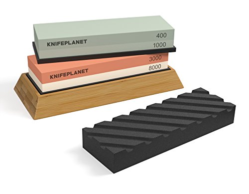 Complete Knife Sharpening Stone Set: 400/1000 Grit Water Stone,...