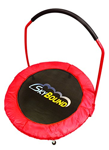 SkyBound Spring Free Mini-Trampoline with Handle Bar, Red