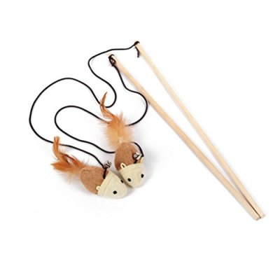 NUOLUX Cat Teaser Interactive Toy Wand with Bell and Feather...
