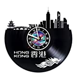 KravchArt Hong Kong - Vinyl Record Wall Clock - Get Unique Gifts Presents for Birthday, Christmas, Ideas for Boys, Girls, Men, Women, Adults, him and her - Unique Design