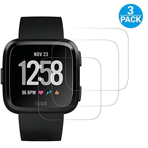 Ailun Watch Screen Protector Compatible Fitbit Versa,[3Pack] Screen Protector for Fitbit Versa Smart Watch,Tempered Glass,Anti-Scratch,Bubble Free
