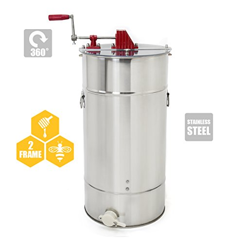 2-Frame Stainless Steel Honey Extractor, Honeycomb Drum Bee Honey Harvest w/ Uncapping Knife