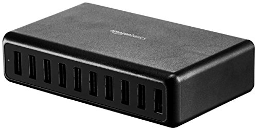 AmazonBasics 60W 10-Port USB Wall Charger - Black