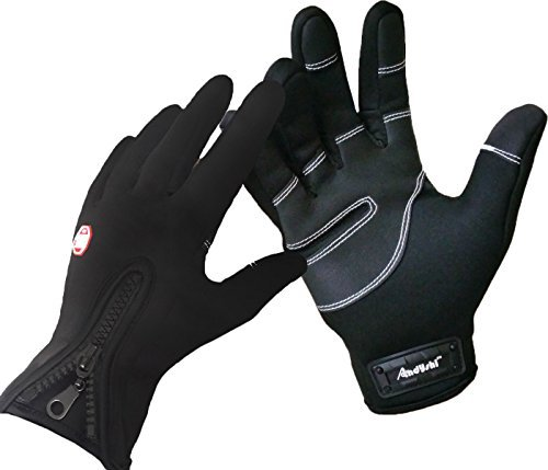 Andyshi Men's Winter Outdoor Cycling Glove Touchscreen Gloves for Smart Phone L Black