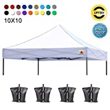 ABCCANOPY Pop Up Canopy 10x10 Replacement Canopy Cover 100% Waterproof Choose 18+ Colors, Bonus 4 x Weight Bags