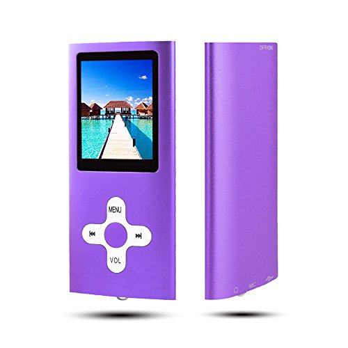 RHDTShop MP3 MP4 Player with a 16 GB Micro SD Card, Support UP to 64GB TF Card, Rechargeable Battery, Portable Digital Music Player/Video/E-Book Reader, Ultra Slim 1.7' LCD Screen-Purple with White