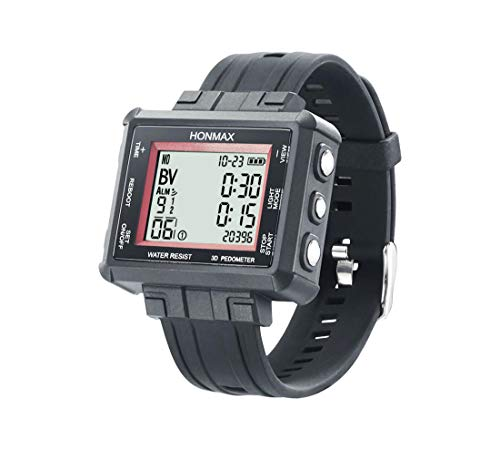 honmax 30 Different Intervals 5 ATM Interval Watch - 3D Pedometer | USB Charging | Black-Red