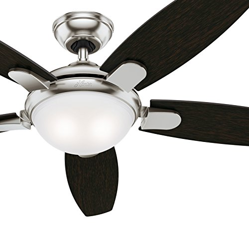 Hunter 54 in. Contemporary Ceiling Fan in Brushed Nickel with LED Light and Remote Control (Renewed)