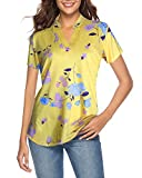 CEASIKERY Women's Short Sleeve Floral V Neck Tops Casual Tunic Blouse Loose Shirt ((US) Small, Short Sleeve Floral Yellow)