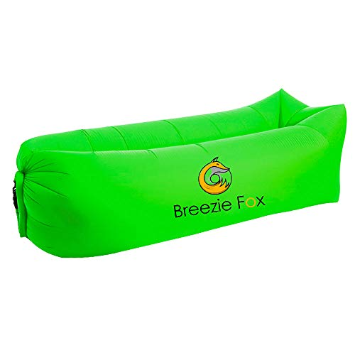 Breezy Fox Inflatable Lounger Air Sofa Hammock - Portable, Water-Proof Couch for Pool Party, Camping - Perfect for Beach, Picnic & Music Fest