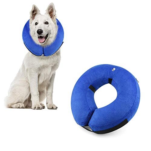 Protective Inflatable Cone Collar for Dogs and Cats, Soft Pet Recovery E-Collar Cone Small Medium Large Dogs, Designed to Prevent Pets from Touching Stitches (Blue-L)