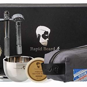 Shaving Kit for Men Wet Shave - Safety Razor with 10 blades, Shaving Badger Hair Brush, Shaving Soap Cream, Shaving… 2